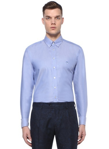 Etro Etro  Düğmeli Yaka Manşeti Desenli Gömlek 101497733 Mavi